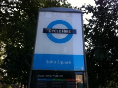 Soho docking station where I get a Boris bike each morning to cycle to Uni