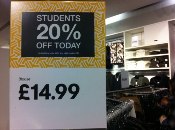 Student discount at H&M this weekend...