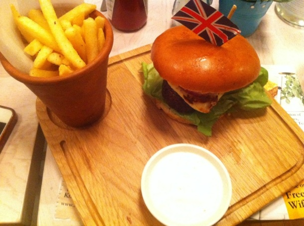 Mushroom and Grilled Haloumi Burger with fries