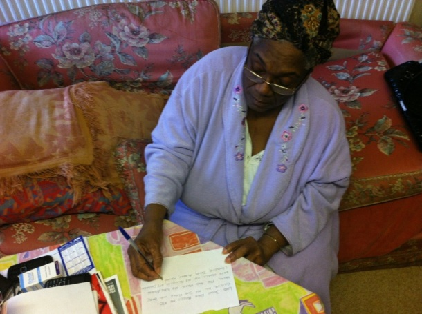 Aunty Marian begins her letter to God...