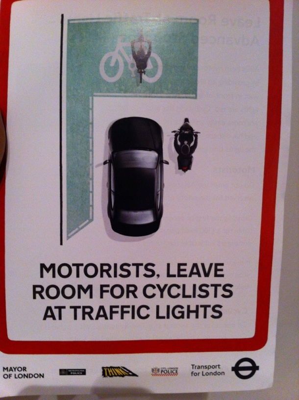I was given this TFL cycle awareness poster