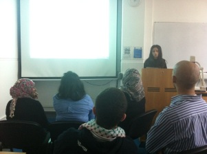 Amena Saleem from PSC runs the event