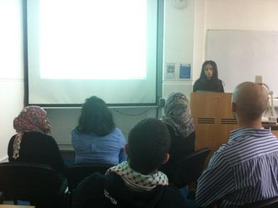 Amena Saleem from PSC runs the event