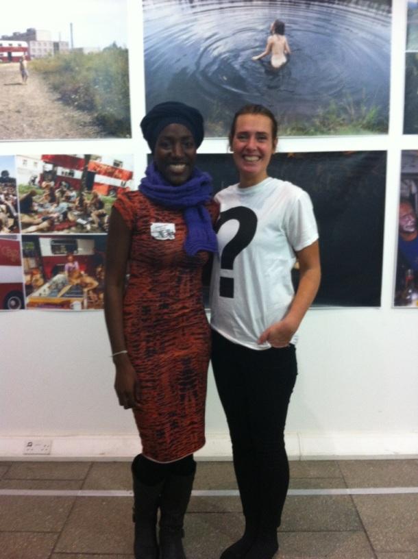Karin Askham proudly wearing an LCC UAL t-shirt!