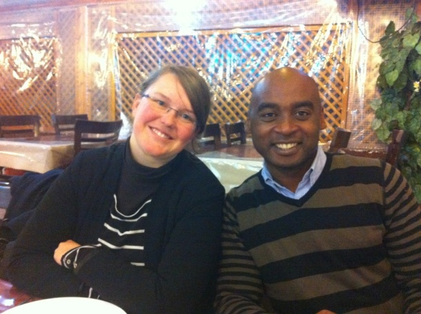 Steffi with my friend from Comoros, Moussa