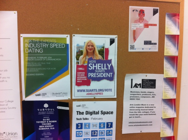The notice board on day 1... Current President Shelly Asquith is re-running!