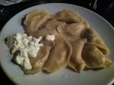 potato dumplings with cheese; Polish speciality