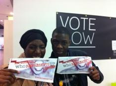 Met Jamal who was handing in his dess www.suarts.org/vote