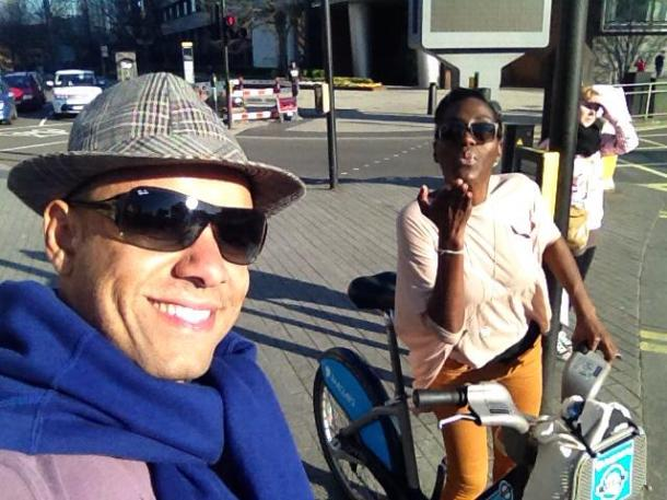 Boris biking in the sun with Kinho