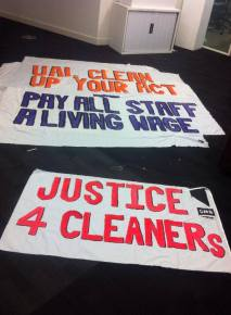 The team made banners at SUARTS head office in Holborn